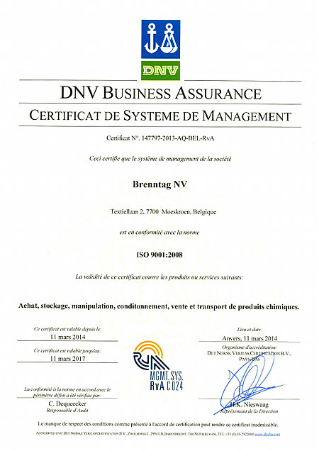 Brenntag's ISO9001 Mouscron Certificate